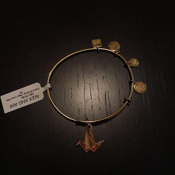 Alex and Ani Jewelry - Alex and Ani Gold Paper Crane Charm Bracelet